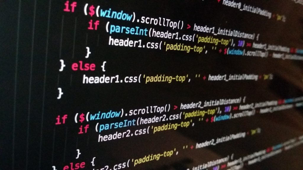 Image of JavaScript code on a monitor.